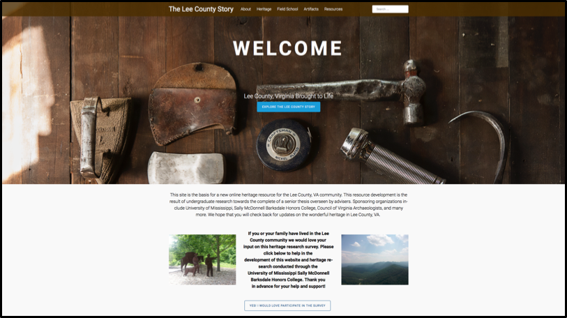 Honors Anthropology student creates historical heritage website for Lee County, Virginia