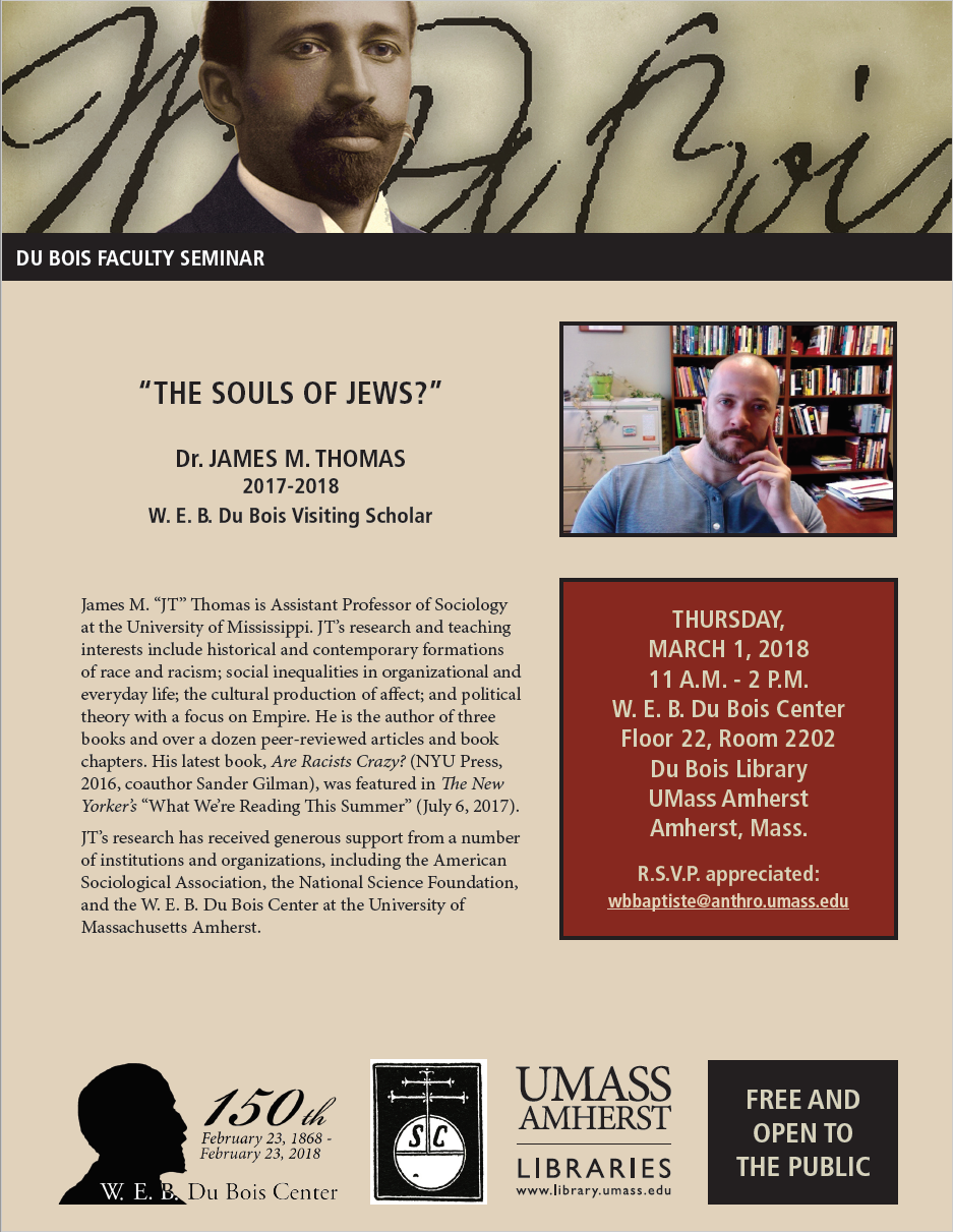 James Thomas to give De Bois Faculty Seminar at UMass Amherst