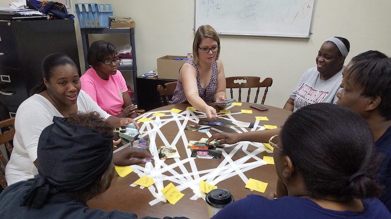 Anne Cafer (left), principal investigator of the Marks Project, conducts research with community members of the Mississippi Delta community.