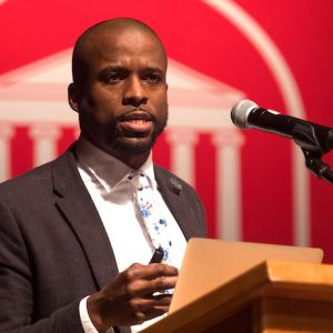 Brian Foster, UM assistant professor of sociology and Southern studies delivers the keynote speech at the 2019 spring convocation for the Sally McDonnell Barksdale Honors College. Foster, the university's honoree for Mississippi Humanities Teacher of the Year, is slated to give the program's annual lecture virtually on March 8. Photo by Kevin Bain/Ole Miss Digital Imaging Services